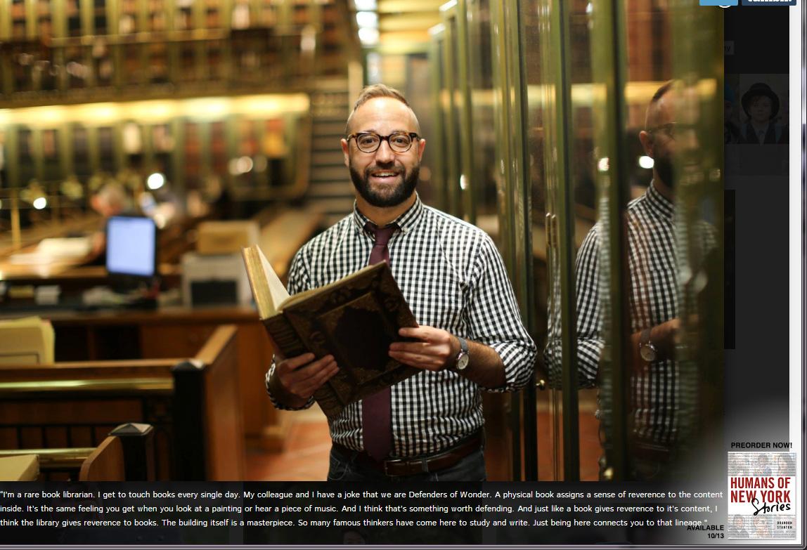 Bibliotekar som jobber med sjeldne bøker. Han og kollegene kaller seg