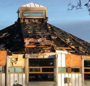Larvik bibliotek etter brannen.